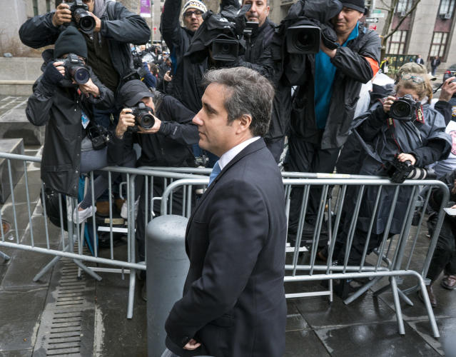 Michael Cohen, President Trump's personal attorney, arrives for a hearing at federal court in New York on Monday. (Photo: Craig Ruttle/AP)