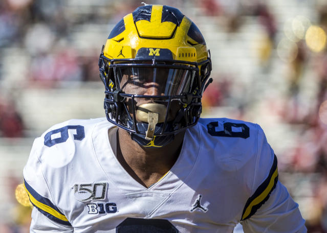 Michigan's Josh Uche could keep rising as a prospect if he performs well at the NFL scouting combine. (Photo by Tony Quinn/Icon Sportswire via Getty Images)
