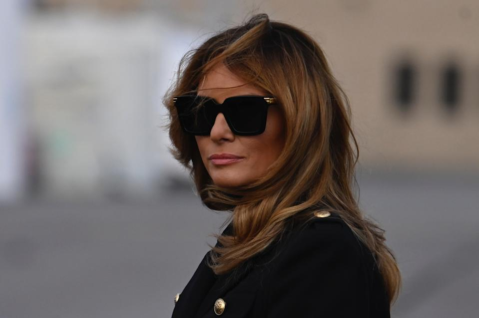 US First Lady Melania Trump arrives at Wilkes-Barre Scranton International Airport  in Avoca, Pennsylvania, on October 31, 2020, for a campaign rally. (Photo by Andrew CABALLERO-REYNOLDS / AFP) (Photo by ANDREW CABALLERO-REYNOLDS/AFP via Getty Images)