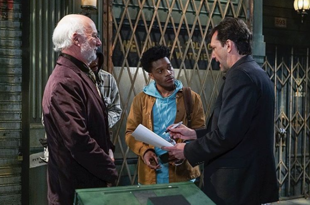 <p>#SuperiorDonuts director Jim Burrows and showrunner Bob Daily telling me where to do my taxes –@jermainefowler #BTS<br> (Photo: YahooTV via Instagram) </p>