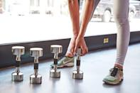 """<p>Building muscle through <a href=""""https://www.popsugar.com/fitness/What-Can-I-Do-Boost-My-Metabolism-45600476"""" class=""""link rapid-noclick-resp"""" rel=""""nofollow noopener"""" target=""""_blank"""" data-ylk=""""slk:strength training helps give your metabolism an upward bump"""">strength training helps give your metabolism an upward bump</a>. While how much is unclear, one thing is known: muscle burns calories at a higher rate than fat when your body is at rest. Even if you consider yourself an active person, make sure to incorporate strength training into your fitness routine. Otherwise you run the risk of losing muscle mass. Try this <a href=""""https://www.popsugar.com/fitness/4-Week-Beginner-Weightlifting-Plan-44954232"""" class=""""link rapid-noclick-resp"""" rel=""""nofollow noopener"""" target=""""_blank"""" data-ylk=""""slk:beginner's 4-week strength program"""">beginner's 4-week strength program</a>. </p>"""