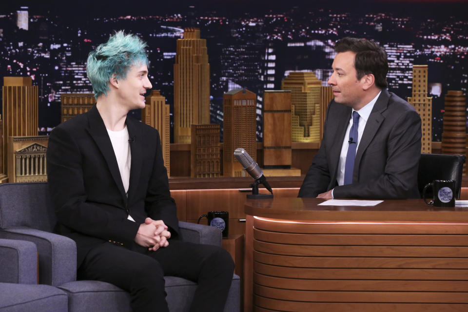 THE TONIGHT SHOW STARRING JIMMY FALLON -- Episode 1054 -- Pictured: (l-r) Video Game Streamer Tyler