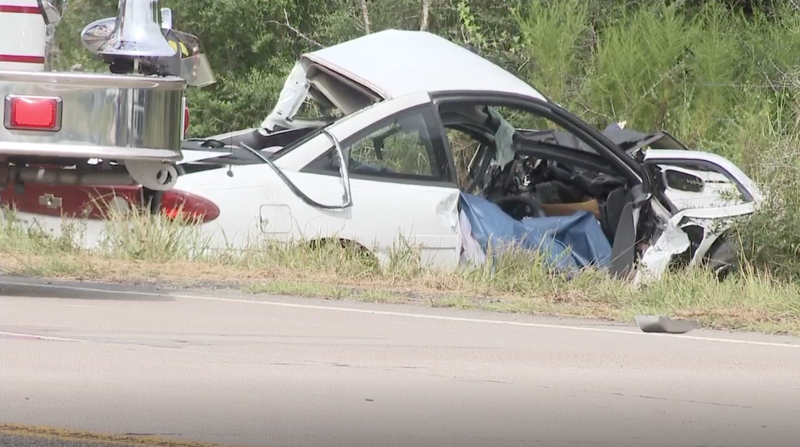 A crumpled-up white car sits on a roadside in Texas. The couple's death was witnessed by Harley's mum Kennia Lashawna Morgan.