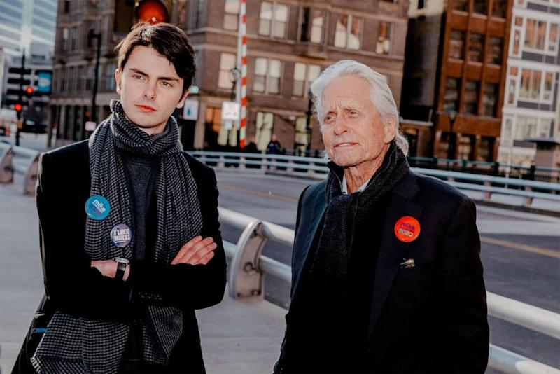 Michael Douglas (right) with son Dylan campaigning for presidential candidate Mike Bloomberg in Wisconsin on Saturday   Mike Bloomberg 2020