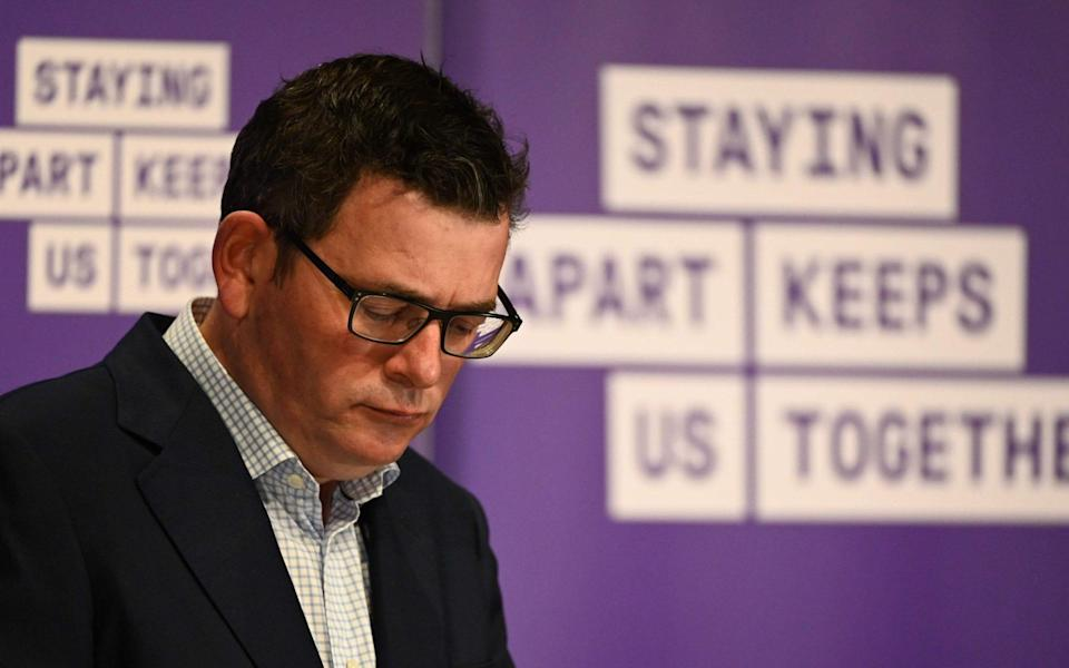 Victoria's state premier Daniel Andrews announces new restrictions to curb the spread of the virus - WILLIAM WEST/AFP