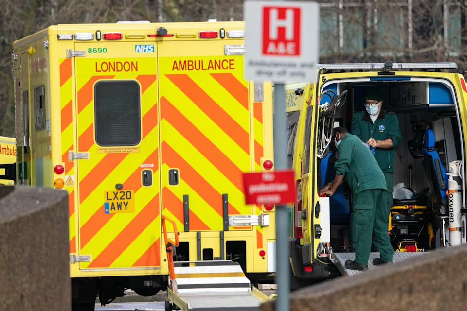 Paramedics and ambulances outside St Thomas' Hospital in central London, during the second wave of coronavirus (Dominic Lipinski/PA) (PA Wire)