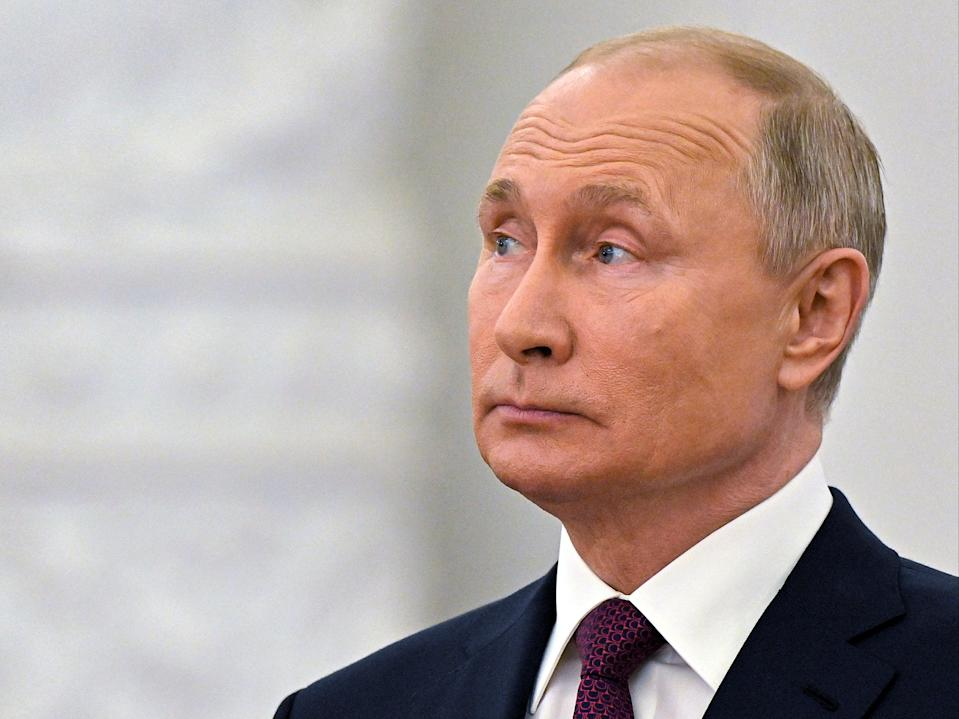 Russian President Vladimir Putin speaks while marking Day of Russia at the Grand Kremlin Palace in Moscow, Russia on Saturday, 12 June 2021 (AP)
