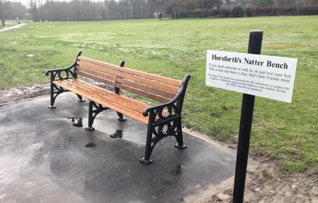 Two people will be allowed to sit on the bench in Hall Park in Horsforth, Leeds (Twitter/Jonathon Taylor)