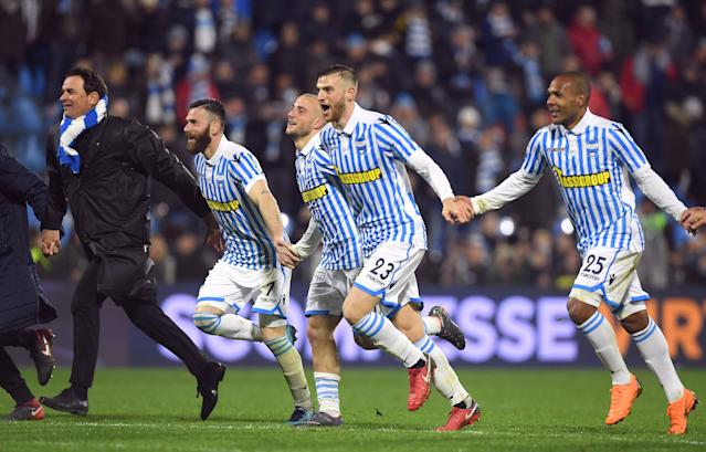 Soccer Football - Serie A - SPAL vs Juventus - Paolo Mazza, Ferrara, Italy - March 17, 2018 Spal's Francesco Vicari and team mates celebrate after the match REUTERS/Alberto Lingria