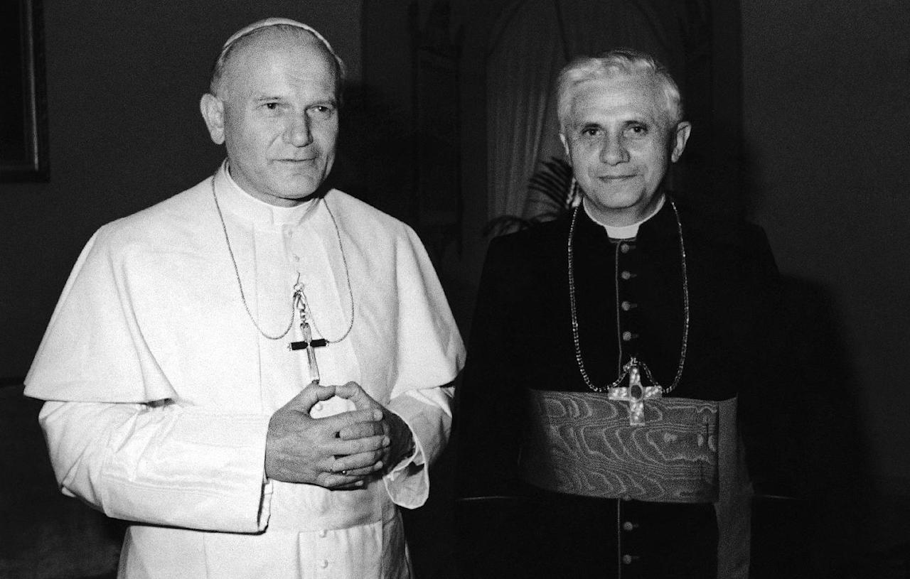 FILE - In this 1979 file photo, Pope John Paul II, left, poses with Cardinal Joseph Ratzinger of Munich, who was named on Nov. 25, 1981, Prefect of the Congregation for the Doctrine of the Faith and President of the Pontifical Biblical Commission and of the International Theological Commission, the former Holy Office. Ratzinger was elected Pope, April 19, 2005 and chose Benedict XVI as his papal name. Pope Benedict XVI announced Monday, Feb. 11, 2013, he would resign Feb. 28 because he is simply too old to carry on. (AP Photo/File)
