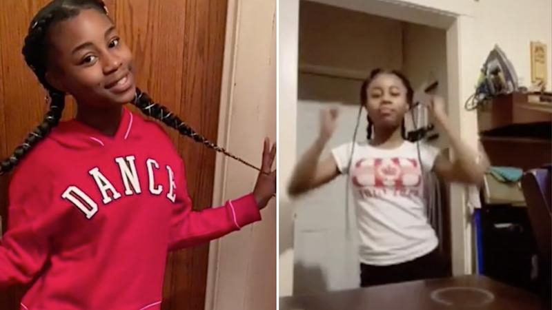Amaria Jones is pictured left and dancing on TikTok right.