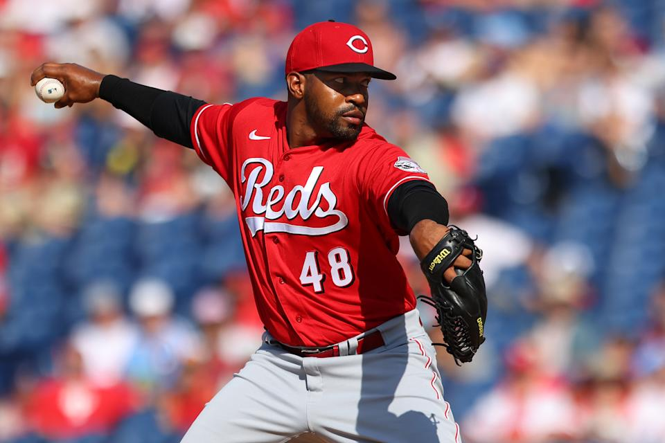 PHILADELPHIA, PA - AUGUST 15: Mychal Givens #48 of the Cincinnati Reds in action against the Philadelphia Phillies during a game at Citizens Bank Park on August 15, 2021 in Philadelphia, Pennsylvania. The Reds defeated the Phillies 7-4. (Photo by Rich Schultz/Getty Images)