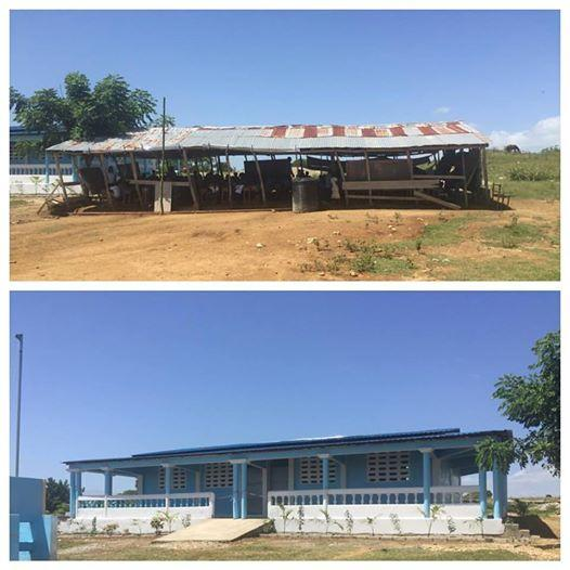 The old schoolhouse in La Chanm, top, and the new classroom, bottom (Avril Family Foundation)