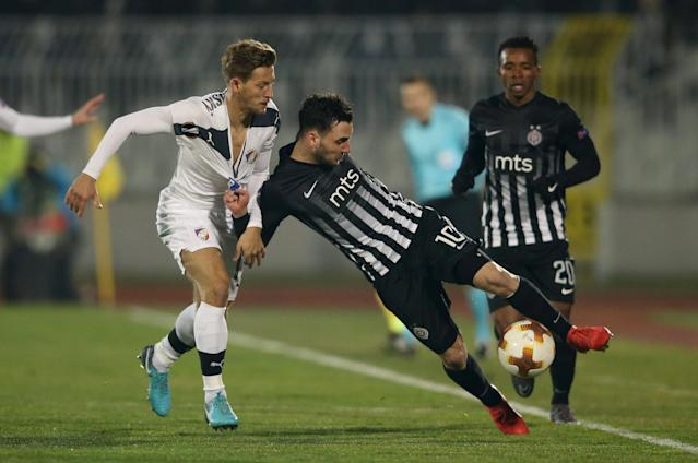 Soccer Football - Europa League Round of 32 First Leg - Partizan Belgrade vs Viktoria Plzen - Partizan Stadium, Belgrade, Serbia - February 15, 2018 Partizan Belgrade's Marko Jankovic in action with Viktoria Plzen's Patrik Hrosovsky REUTERS/Marko Djurica