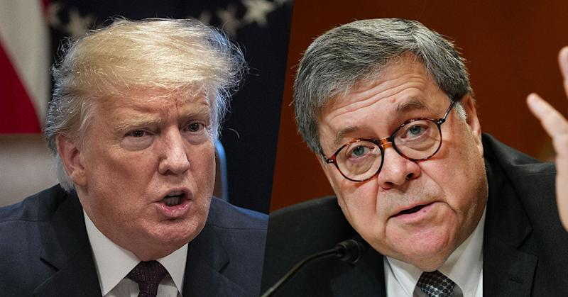 President Trump and Attorney General William Barr. (Photos: Timothy D. Easley/AP, Mandel Ngan/AFP/Getty Images)