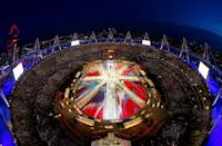 A general view of the stadium as a Union Jack is formed during the Closing Ceremony on Day 16 of the London 2012 Olympic Games at Olympic Stadium on August 12, 2012 in London, England. (Photo by Rob Carr/Getty Images)