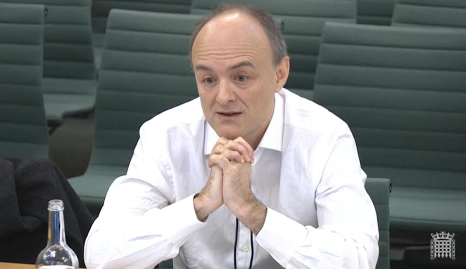 Dominic Cummings giving speaking at the Commons Science and Technology Committee which is taking evidence on a new UK research funding agency. Picture date: Wednesday March 17, 2021.