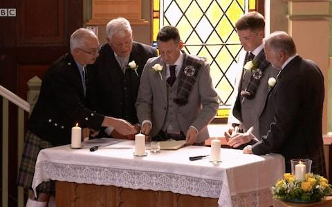 Jamie Wallace and Ian McDowall's wedding was the first same sex marriage on Songs of Praise