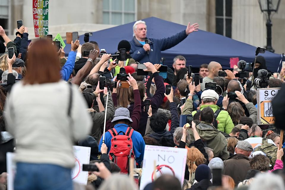 British 'conspiracy theorist' David Icke, speaks at a gathering of protesters in Trafalgar Square in London on September 26, 2020, at a 'We Do Not Consent!' mass rally against vaccination and government restrictions designed to fight the spread of the novel coronavirus, including the wearing of masks and taking tests for the virus. (Photo by JUSTIN TALLIS / AFP) (Photo by JUSTIN TALLIS/AFP via Getty Images)