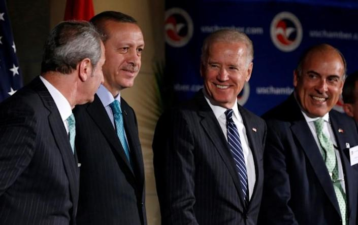 FILE PHOTO: U.S. Vice President Joe Biden is pictured with Turkey's Prime Minister Recep Tayyip Erdogan during an event at the U.S. Chamber of Commerce in Washington