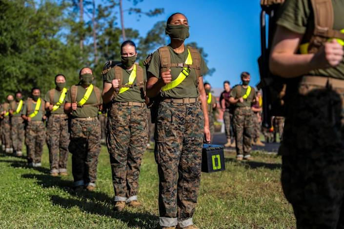 Recruits with November Company, 4th Recruit Training Battalion, participate in daily training aboard Marine Corps Recruit Depot Parris Island April 21, 2020.