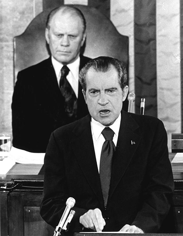 With Gerald Ford seated behind him, President Nixon delivers a State of the Union message before a joint session of Congress in January 1974. (Photo: AP)