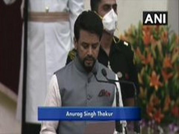 Union Minister Anurag Thakur takes oath as cabinet minister on Wednesday.