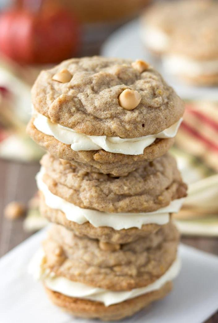 """<p>These pumpkin sandwich cookies will be great for a Thanksgiving dessert, or just an easy weeknight sweet!</p><p><strong>Get the recipe at <a href=""""https://aclassictwist.com/pumpkin-butterscotch-cookie-sandwiches/"""" rel=""""nofollow noopener"""" target=""""_blank"""" data-ylk=""""slk:A Classic Twist"""" class=""""link rapid-noclick-resp"""">A Classic Twist</a>.</strong></p><p><a class=""""link rapid-noclick-resp"""" href=""""https://go.redirectingat.com?id=74968X1596630&url=https%3A%2F%2Fwww.walmart.com%2Fsearch%2F%3Fquery%3Dpiping%2Bbags&sref=https%3A%2F%2Fwww.thepioneerwoman.com%2Ffood-cooking%2Fmeals-menus%2Fg36875717%2Ffall-cookies%2F"""" rel=""""nofollow noopener"""" target=""""_blank"""" data-ylk=""""slk:SHOP PIPING BAGS"""">SHOP PIPING BAGS</a></p>"""