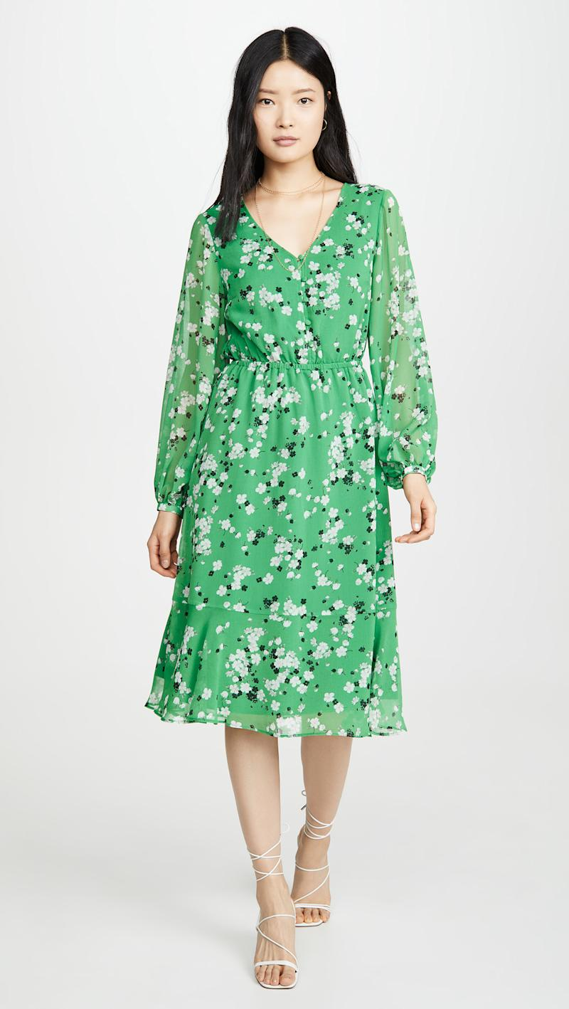 A delicate and timeless floral dress made from non-stretch chiffon. (Image via Shopbop). .