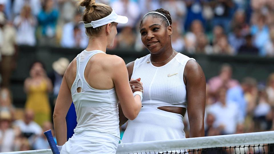 Serena Williams shakes hands with Alison Riske after their match at Wimbledon. (Photo by Simon Stacpoole/Offside/Getty Images)