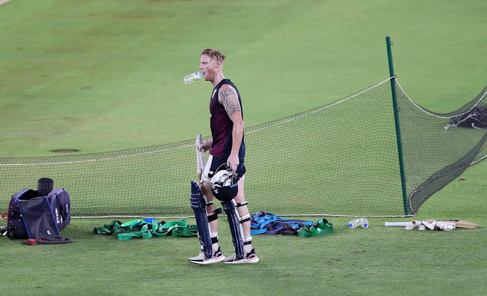 Ben Stokes of England watches on during an England Net Session at Narendra Modi Stadium on March 10, 2021 in Ahmedabad, India. (Photo by Surjeet Yadav/Getty Images)