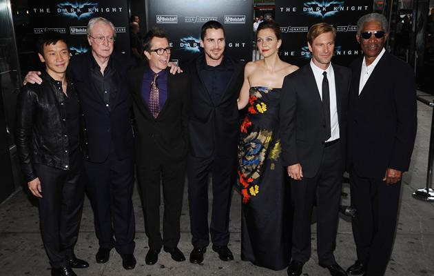 Chin Han at the premiere of Dark Night with actors Michael Caine, Gary Oldman, Christian Bale, Maggie Gyllenhaal, Aaron Eckhart and Morgan Freeman (Getty Images)