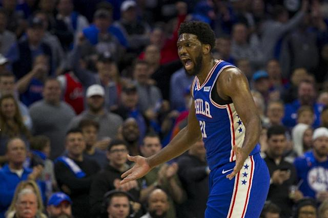 Philadelphia's Joel Embiid scored 31 points and grabbed 16 rebounds to lead the 76ers to an NBA playoff victory Saturday at Brooklyn (AFP Photo/Mitchell Leff)
