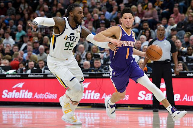 Devin Booker dropped a season-high 59 points on Monday night in Utah. (Alex Goodlett/Getty Images)