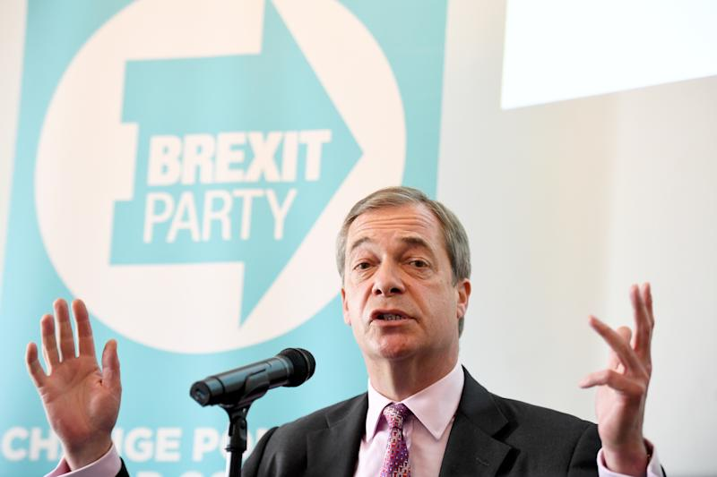 Brexit Party leader Nigel Farage during a presentation on postal votes at Carlton House Terrace in London.