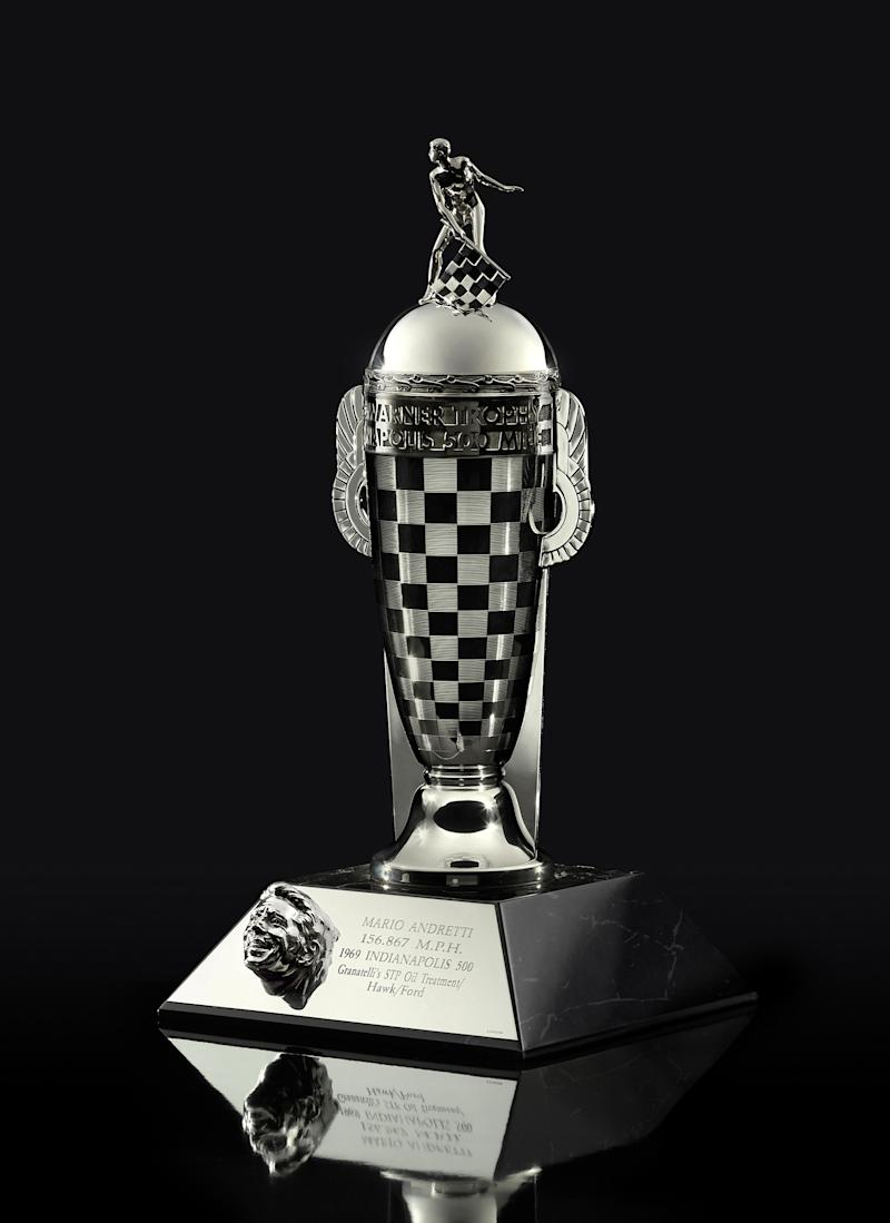 Mario Andretti's Championship Driver's Trophy (Baby Borg), a gift from BorgWarner in celebration of the 50th anniversary of his Indianapolis 500 win