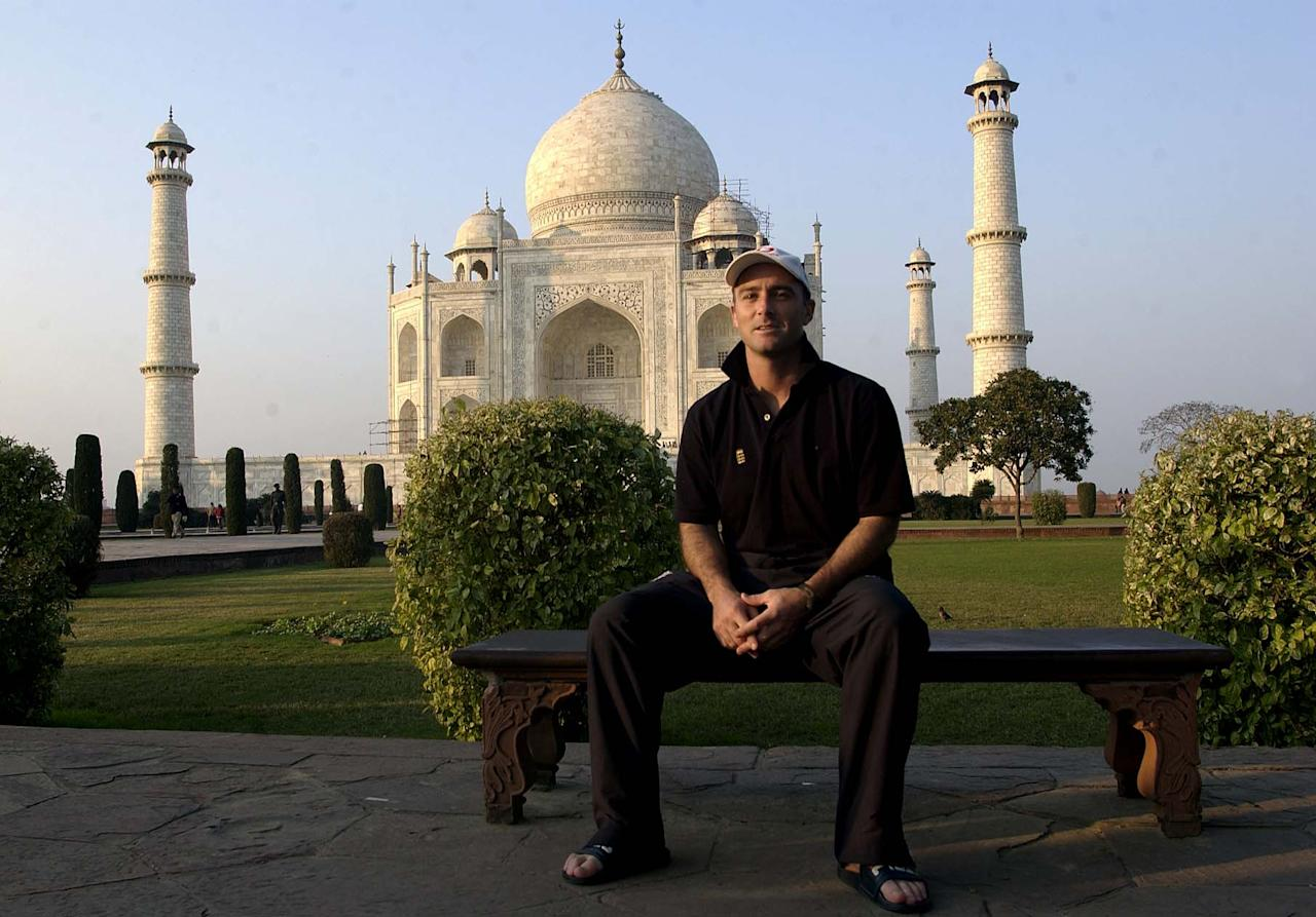 30 Jan 2002:  Graham Thorpe of England poses for pictures in front of the Taj Mahal, Agra, India. DIGITAL IMAGE. Mandatory Credit: Tom Shaw/Getty Images
