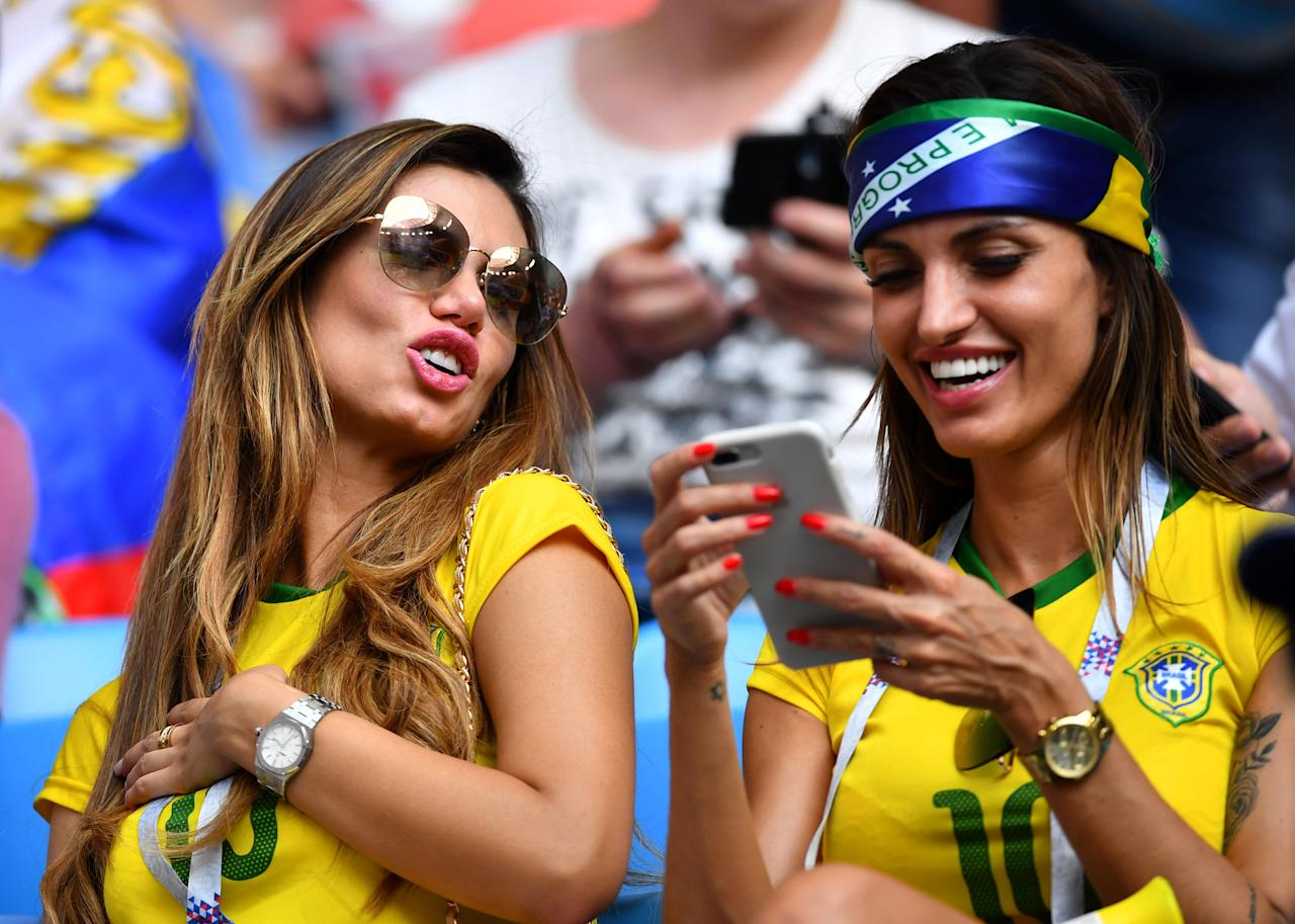 <p>Brazil fans inside the stadium before the match REUTERS/Dylan Martinez </p>