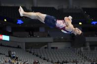 Sam Mikulak competes in the floor exercise during the U.S. Gymnastics Championships, Saturday, June 5, 2021, in Fort Worth, Texas. (AP Photo/Tony Gutierrez)