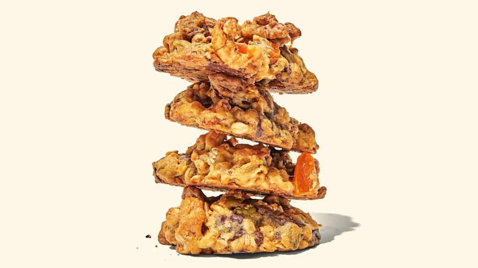 """These cookies are loaded with flavor and extra chew from oats, chocolate chips, dried fruit, and nuts. Bring them along on your next hike. <a href=""""https://www.epicurious.com/recipes/food/views/trail-mix-cookies?mbid=synd_yahoo_rss"""" rel=""""nofollow noopener"""" target=""""_blank"""" data-ylk=""""slk:See recipe."""" class=""""link rapid-noclick-resp"""">See recipe.</a>"""