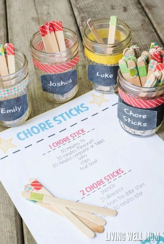 """<p>All you need is some popsicle sticks and washi tape to create this easy system to help motivate your kids to complete their chores.</p><p><a href=""""https://livingwellmom.com/chore-sticks-simple-chore-system-kids-works/"""" rel=""""nofollow noopener"""" target=""""_blank"""" data-ylk=""""slk:Get the tutorial at Living Well Mom."""" class=""""link rapid-noclick-resp""""><strong><em>Get the tutorial at Living Well Mom.</em></strong></a></p>"""