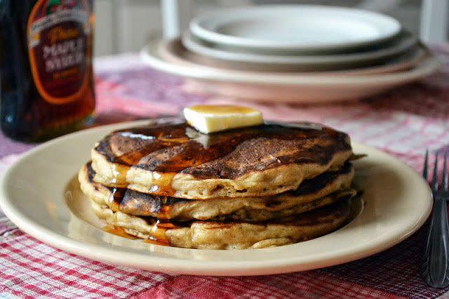 "<strong>Get the <a href=""http://theviewfromgreatisland.com/2011/12/the-morning-after-gingerbread-pancakes.html"" rel=""nofollow noopener"" target=""_blank"" data-ylk=""slk:Gingerbread Pancakes recipe"" class=""link rapid-noclick-resp"">Gingerbread Pancakes recipe</a> from The View From The Great Island</strong>"