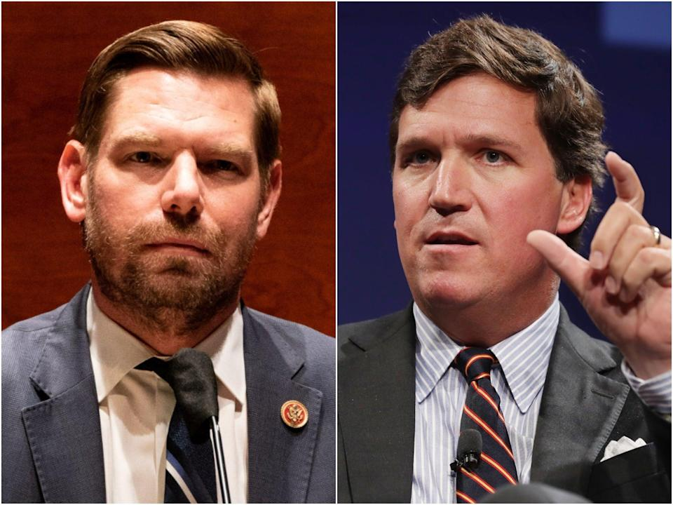 """Rep Eric Swalwell tweeted out what appeared to be a text conversation with Fox News host Tucker Carlson, in which he called the Californian a """"coward"""".  (Getty Images)"""