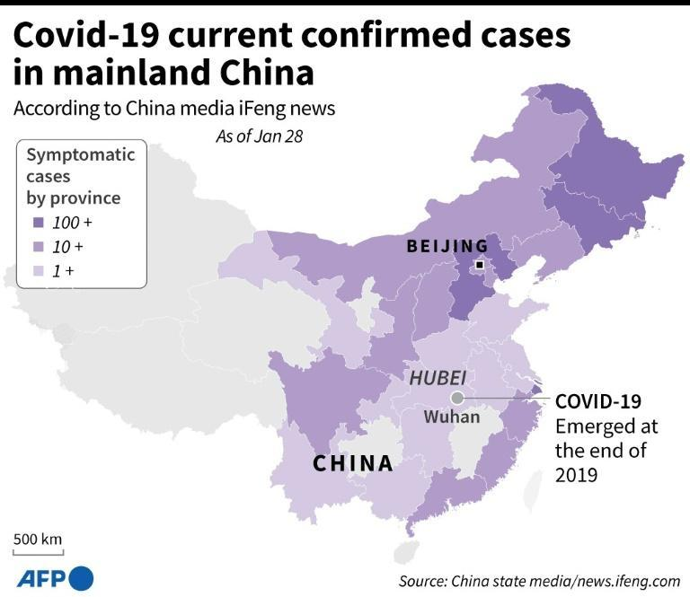 COVID-19 current confirmed cases in mainland China