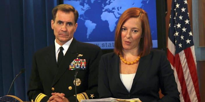 Pentagon Press Secretary Rear Admiral John Kirby (L) and U.S. State Department spokesperson Jennifer Psaki (R) hold a joint press conference at the state department in Washington DC, United States on October 16, 2014.