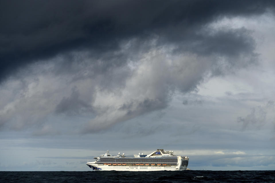 Carrying multiple people who have tested positive for COVID-19, the Grand Princess maintains a holding pattern about 30 miles off the coast of San Francisco, Sunday, March 8, 2020. The cruise ship is scheduled to dock at the Port of Oakland on Monday. (AP Photo/Noah Berger)