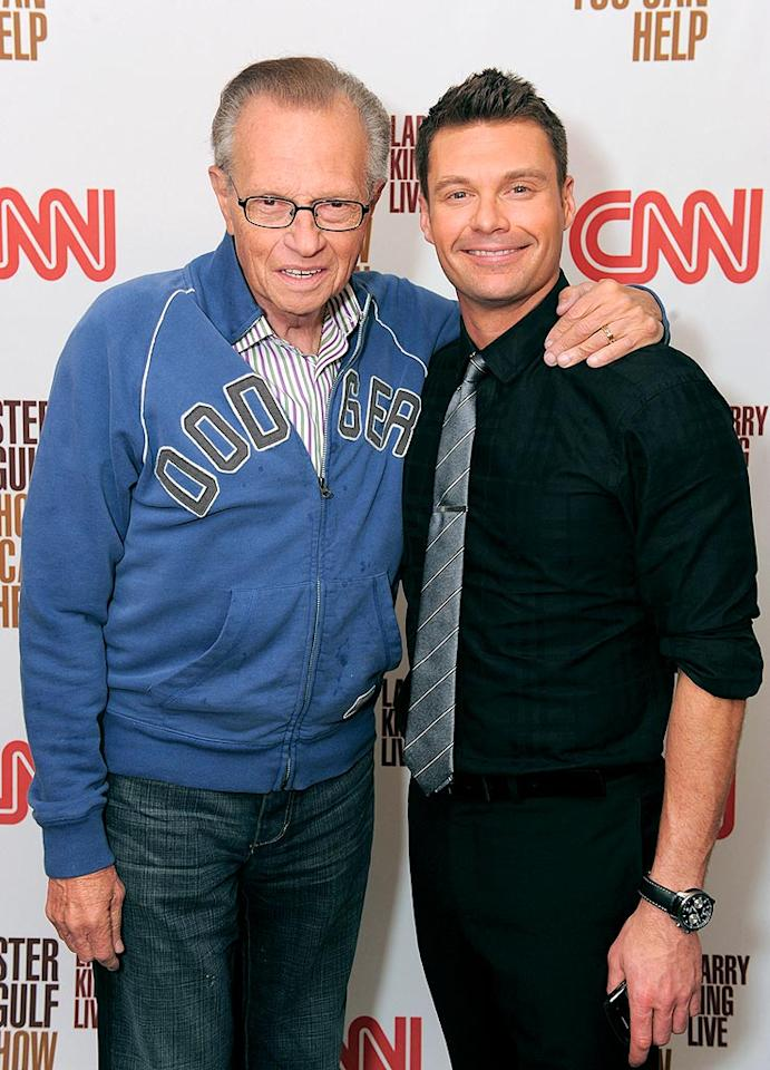 "Larry King and Ryan Seacrest hosted a star-studded telethon on Monday that raked in an estimated $1.8 million to help the Gulf Coast recover from April's massive oil spill. Jordan Strauss/<a href=""http://www.wireimage.com"" target=""new"">WireImage.com</a> - June 21, 2010"