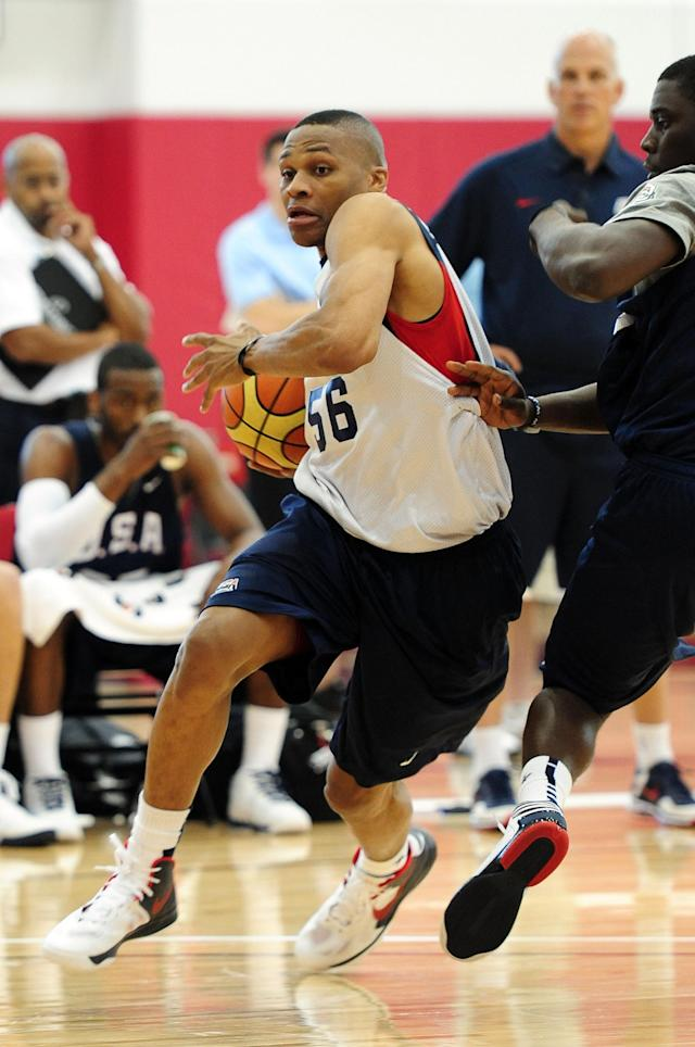 LAS VEGAS, NV - JULY 6: Russell Westbrook of the USA Men's National Team drives with the ball during training camp on July 6, 2012 in Las Vegas, Nevada. NOTE TO USER: User expressly acknowledges and agrees that, by downloading and/or using this Photograph, user is consenting to the terms and conditions of the Getty Images License Agreement. Mandatory Copyright Notice: Copyright 2012 NBAE (Photo by Andrew D. Bernstein/NBAE via Getty Images)