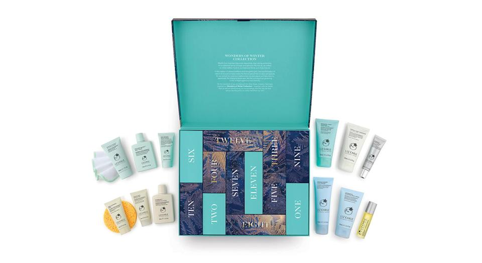"""<p>The 12 Days of Liz Earle set is full of goodies with cult classics such as the brand's Botanical Shine shampoo and deep cleansing mask behind its doors. Available online <a href=""""https://uk.lizearle.com/product/the-12-days-of-liz-earle-x1822?gclid=Cj0KCQjwjbveBRDVARIsAKxH7vluxVYKlRu6puADidYj-CeIkdNqZjYIpvxK6FCxQuZ-s7P2pC-OKTEaAgTuEALw_wcB&gclsrc=aw.ds"""" rel=""""nofollow noopener"""" target=""""_blank"""" data-ylk=""""slk:now"""" class=""""link rapid-noclick-resp"""">now</a> for £80. </p>"""