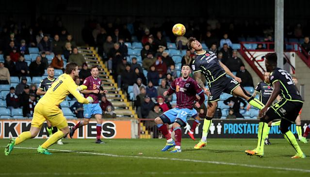 Soccer Football - League One - Scunthorpe United vs Bristol Rovers - Glanford Park, Scunthorpe, Britain - November 11, 2017 Bristol Rovers' Tom Broadbent heads over his own keeper and sends the ball just wide of the goal Action Images/John Clifton